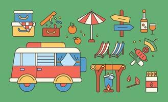 Sammlung von Wohnwagen-Campingobjekten. flache Designart minimale Vektorillustration. vektor