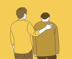 Ein Mann tröstet einen anderen Mann, indem er auf die Schulter klopft. Hand gezeichnete Art Vektor-Design-Illustrationen. vektor