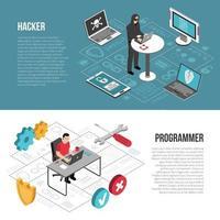 isometrische Banner-Vektorillustration des Hacker-Programmierers vektor