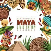 Maya Zivilisation Cartoon Rahmen Vektor-Illustration vektor