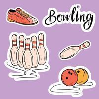 Satz von Vektorsymbolen, die dem Bowling gewidmet sind. vektor