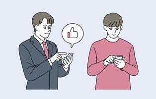Ein Mann im Anzug und ein Mann im Freizeitstil schauen sich ein Handy an. Hand gezeichnete Art Vektor-Design-Illustrationen. vektor