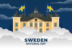 sveriges nationaldag. firades årligen den 6 juni i sverige. glad nationell helgdag av frihet. sveriges flagga. patriotisk affischdesign. vektor