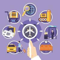 flygplats platt koncept vektor