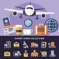 flygplats ikoner samling vektor