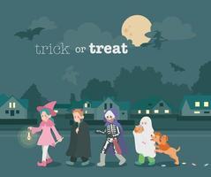 Nachts gehen süße Kinder mit Halloween-Make-up die Straße entlang. Hand gezeichnete Art Vektor-Design-Illustrationen. vektor