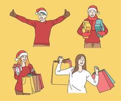 Sara, die Weihnachtsmützen trägt, hat Spaß mit Geschenkboxen und Einkaufstüten. Hand gezeichnete Art Vektor-Design-Illustrationen. vektor