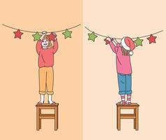 süße Kinder stehen auf den Stühlen und dekorieren sie für Weihnachten. Hand gezeichnete Art Vektor-Design-Illustrationen. vektor