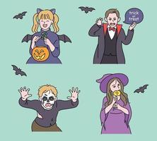 süße Kinder sind für Halloween verkleidet. Hand gezeichnete Art Vektor-Design-Illustrationen. vektor