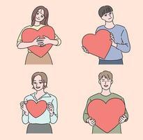 Menschen, die Herzen in verschiedenen Größen halten. Hand gezeichnete Art Vektor-Design-Illustrationen. vektor