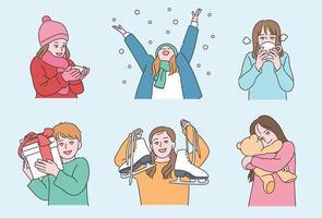 Winter und aufregende Kinder. Hand gezeichnete Art Vektor-Design-Illustrationen. vektor