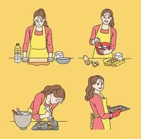 Eine Frau backt Kekse. Hand gezeichnete Art Vektor-Design-Illustrationen. vektor