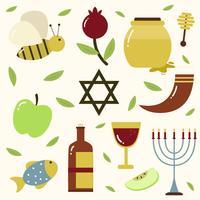 Rosh Hashanah Element Sammlung Vektor