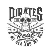 Piratenschädel Schwerter T-Shirt drucken Skelett Flagge vektor