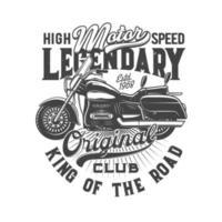 Motorradrennen Fahrrad oder Motorradfahrer Club T-Shirt Design vektor