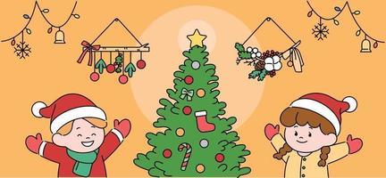 Kinder in Weihnachtsmützen genießen den Weihnachtsbaum. Hand gezeichnete Art Vektor-Design-Illustrationen. vektor