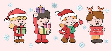 süße kleine Figuren mit Weihnachtsmützen und Rentierhörnern halten Geschenkboxen. Hand gezeichnete Art Vektor-Design-Illustrationen. vektor