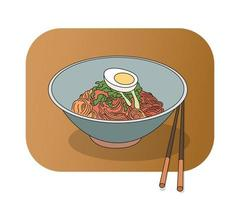 koreanisch würziges Bibimmyeon. Hand gezeichnete Art Vektor-Design-Illustrationen. vektor