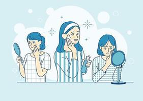 Mädchen tragen Make-up. Hand gezeichnete Art Vektor-Design-Illustrationen. vektor