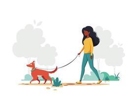 schwarze Frau, die mit Hund im Park geht. Outdoor-Aktivitätskonzept. Vektorillustration. vektor