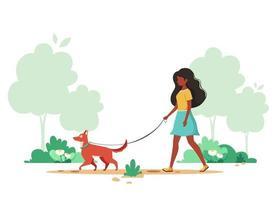 schwarze Frau, die mit Hund im Frühjahr geht. Outdoor-Aktivitätskonzept. Vektorillustration. vektor
