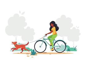 svart kvinna ridning cykel med hund i park. hälsosam livsstil, utomhusaktivitetskoncept. vektor illustration.