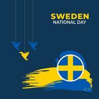 sveriges nationaldag. firades årligen den 6 juni i sverige. glad nationell helgdag av frihet. svensk flagga. patriotisk affischdesign. vektor illustration