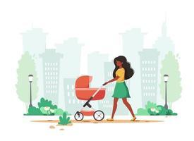 schwarze Frau, die mit Kinderwagen im Frühjahr geht. Außenaktivität. Vektorillustration. vektor