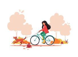 kvinna ridning cykel med hund i höst park. hälsosam livsstil, utomhusaktivitetskoncept. vektor illustration.