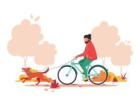 man ridcykel med hund i höst parkerar. hälsosam livsstil, utomhusaktivitetskoncept. vektor illustration.