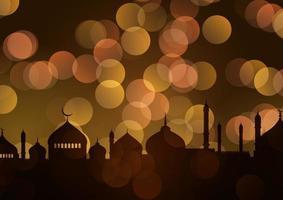 ramadan kareem bakgrund med guld bokeh lampor vektor