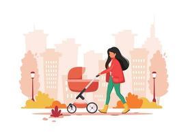 Frau, die mit Kinderwagen im Herbst geht. Außenaktivität. Vektorillustration. vektor