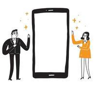Illustration von Mann und Frau, um den Bildschirm des Smartphones zu führen vektor