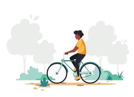 svart man ridcykel. hälsosam livsstil, sport, utomhusaktivitetskoncept. vektorillustration i platt stil. vektor