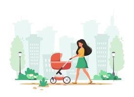 Frau, die mit Kinderwagen im Frühjahr geht. Außenaktivität. Vektorillustration. vektor