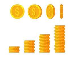 Goldmünzen auf weißem Hintergrund, Satz Rotationsmünze. finanzielles Wachstumskonzept mit goldenem Münzdollar. vektor