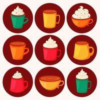 Kaffeetag. verschiedene Kaffeesorten in Tassen. Vektorillustration im flachen Stil. vektor