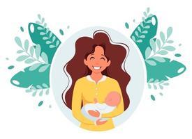 Frau mit Baby. Mutterschaft, Elternkonzept. Muttertag. Vektorillustration. vektor