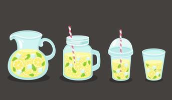 Entgiftungswasser mit Zitrone, Eiswürfeln, Minze. gesunder Lebensstil. Detox-Getränk. Vektorillustration. vektor