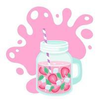 detoxvatten med jordgubbsskivor, isbitar, mynta i burk. hälsosam livsstil. detoxdrink. vektor illustration.