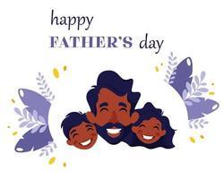 glad fars dag. svart man med dotter och son. vektor illustration