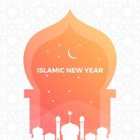 Minimalistiska islamiska nyårshälsningar med Gradient Pattern Bakgrund Vector Illustration