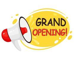 feierliche Eröffnung, Wiedereröffnung, wir sind offenes Banner. Einladungsplakate mit Megaphonlautsprecher. Vektorillustration. vektor