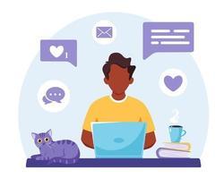 schwarzer Mann, der am Laptop arbeitet. freiberuflich, Online-Studium, Fernarbeitskonzept. Vektorillustration vektor