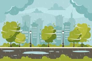 Regen auf Stadthintergrund. regnerischer und windiger Tag. Vektorillustration im flachen Stil. vektor