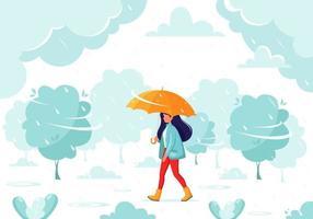 Frau, die unter einem Regenschirm während des Regens geht. Herbstregen. Herbst Outdoor-Aktivitäten. vektor