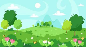 Frühlingslandschaft mit Bäumen, Bergen, Feldern, Blumen. Vektorillustration. vektor