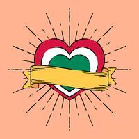 Herz mit Band in der Tätowierungs-Art-Illustration vektor