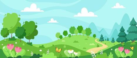 Frühlingslandschaft mit Bäumen, Bergen, Feldern, Blättern. Vektorillustration im flachen Stil. vektor