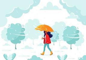 schwarze Frau, die unter einem Regenschirm während des Regens geht. Herbstregen. Herbst Outdoor-Aktivitäten. vektor